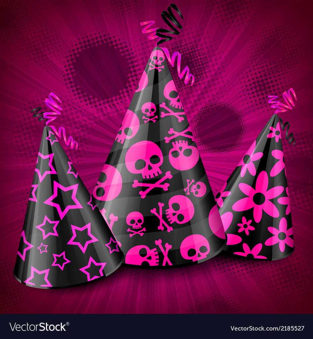 Goth party hats on pink vector | Price: 1 Credit (USD $1)