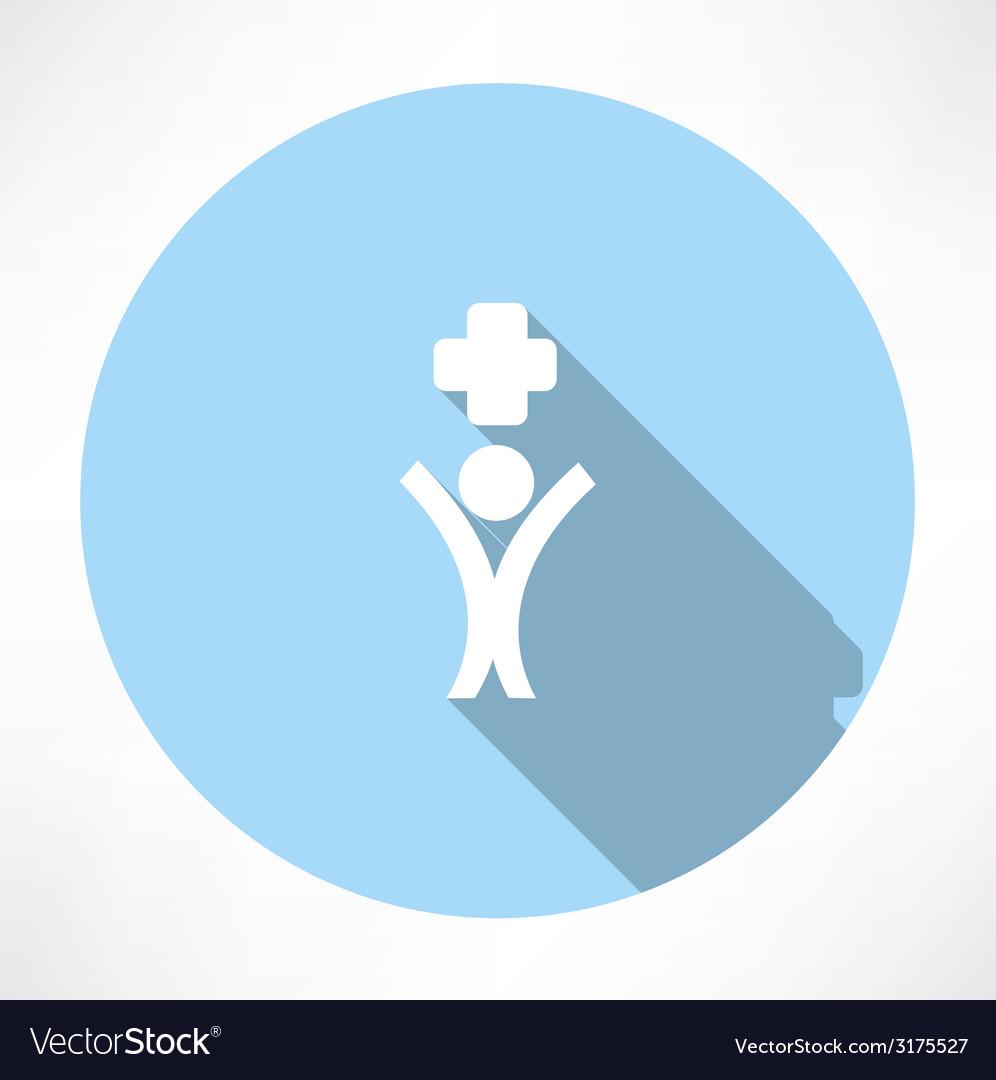 Happy man medicine icon vector | Price: 1 Credit (USD $1)