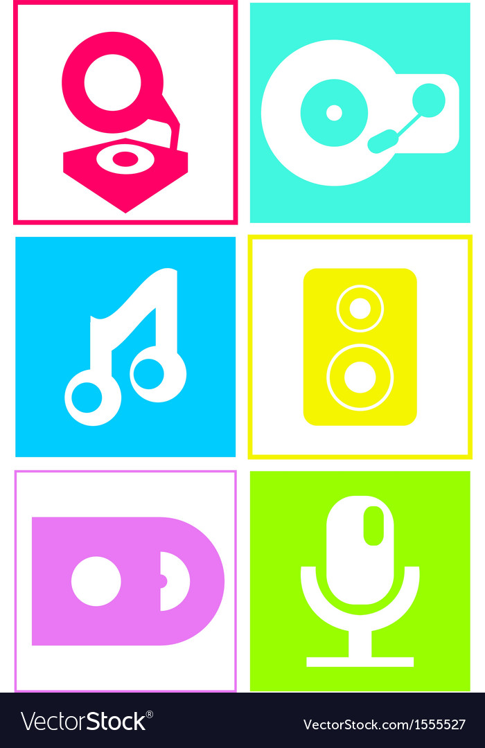 Music icons in neon colors flat design vector | Price: 1 Credit (USD $1)