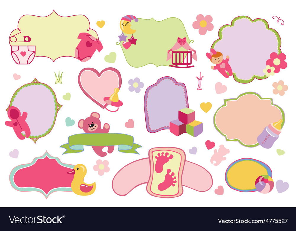 Newborn baby girl badgeslabels setbaby shower vector | Price: 1 Credit (USD $1)