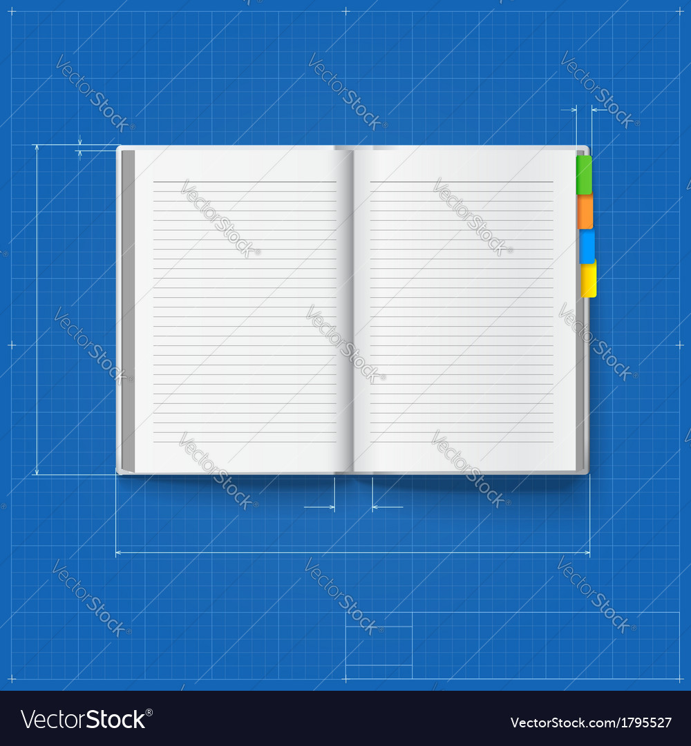 Opened notebook stylized drawing vector | Price: 1 Credit (USD $1)