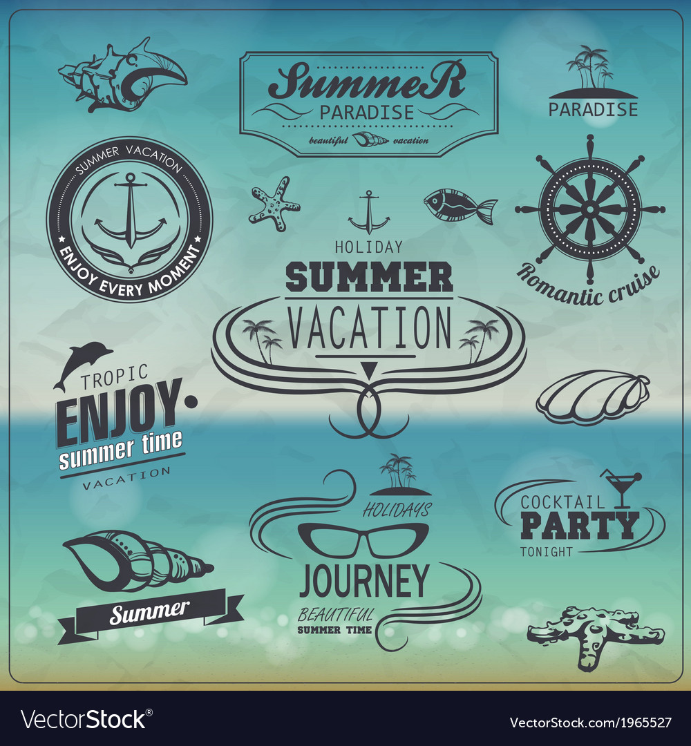 Set of vintage summer typography design with label vector | Price: 1 Credit (USD $1)