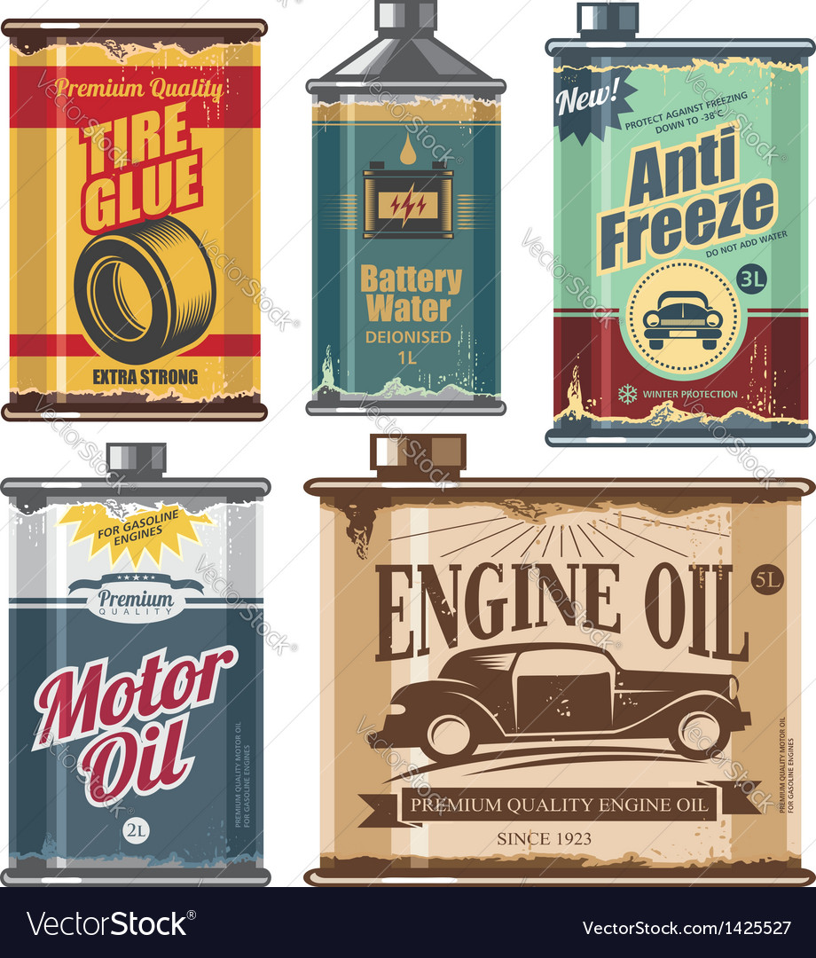 Vintage set of car and transportation products vector | Price: 3 Credit (USD $3)