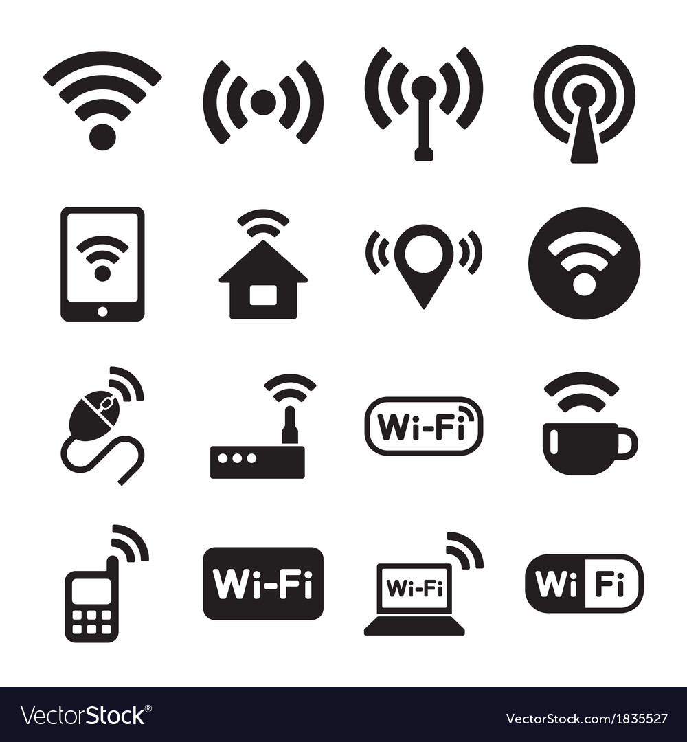 Wireless technology wi-fi web icons set vector | Price: 1 Credit (USD $1)