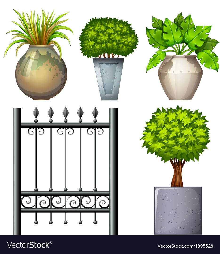 A steel gate and potted plants vector | Price: 1 Credit (USD $1)