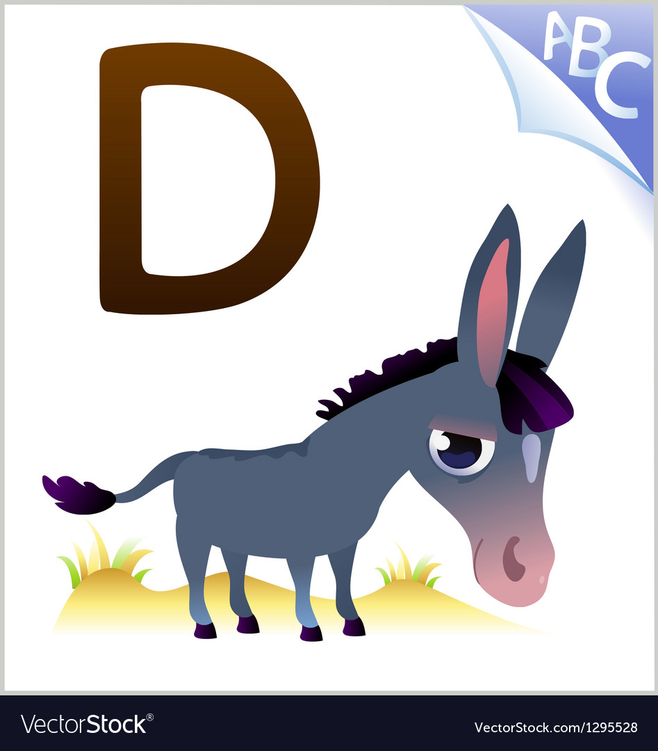 Animal alphabet for the kids d for the donkey vector | Price: 1 Credit (USD $1)