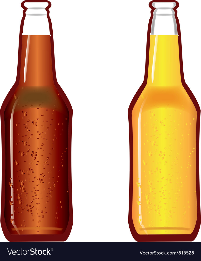 Beer bottles dark and light vector | Price: 1 Credit (USD $1)
