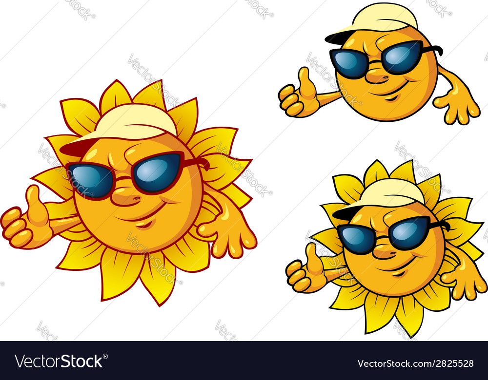 Cartoon style sun character vector | Price: 1 Credit (USD $1)