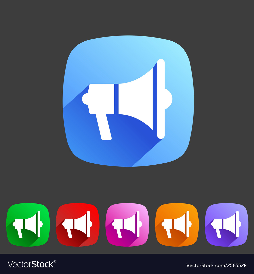 Flat loudspeaker megaphone icon vector | Price: 1 Credit (USD $1)