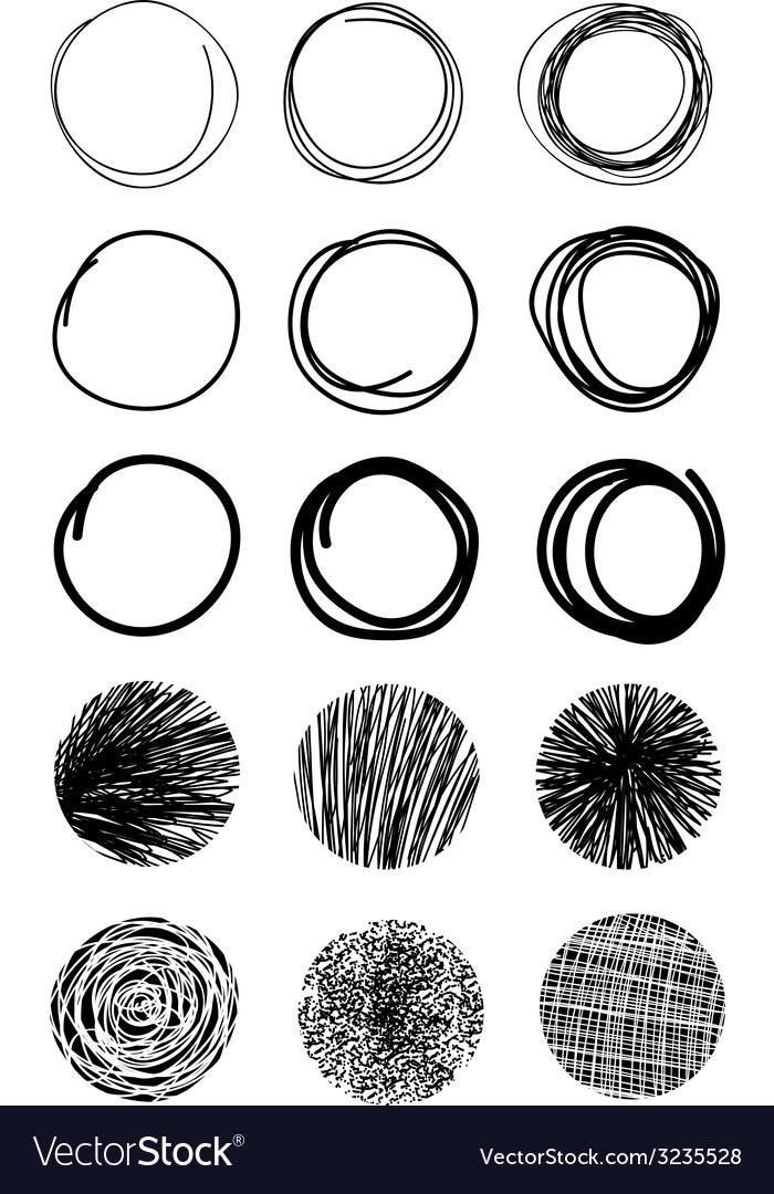 Hand drawn scribble circles design elements eps 10 vector | Price: 1 Credit (USD $1)
