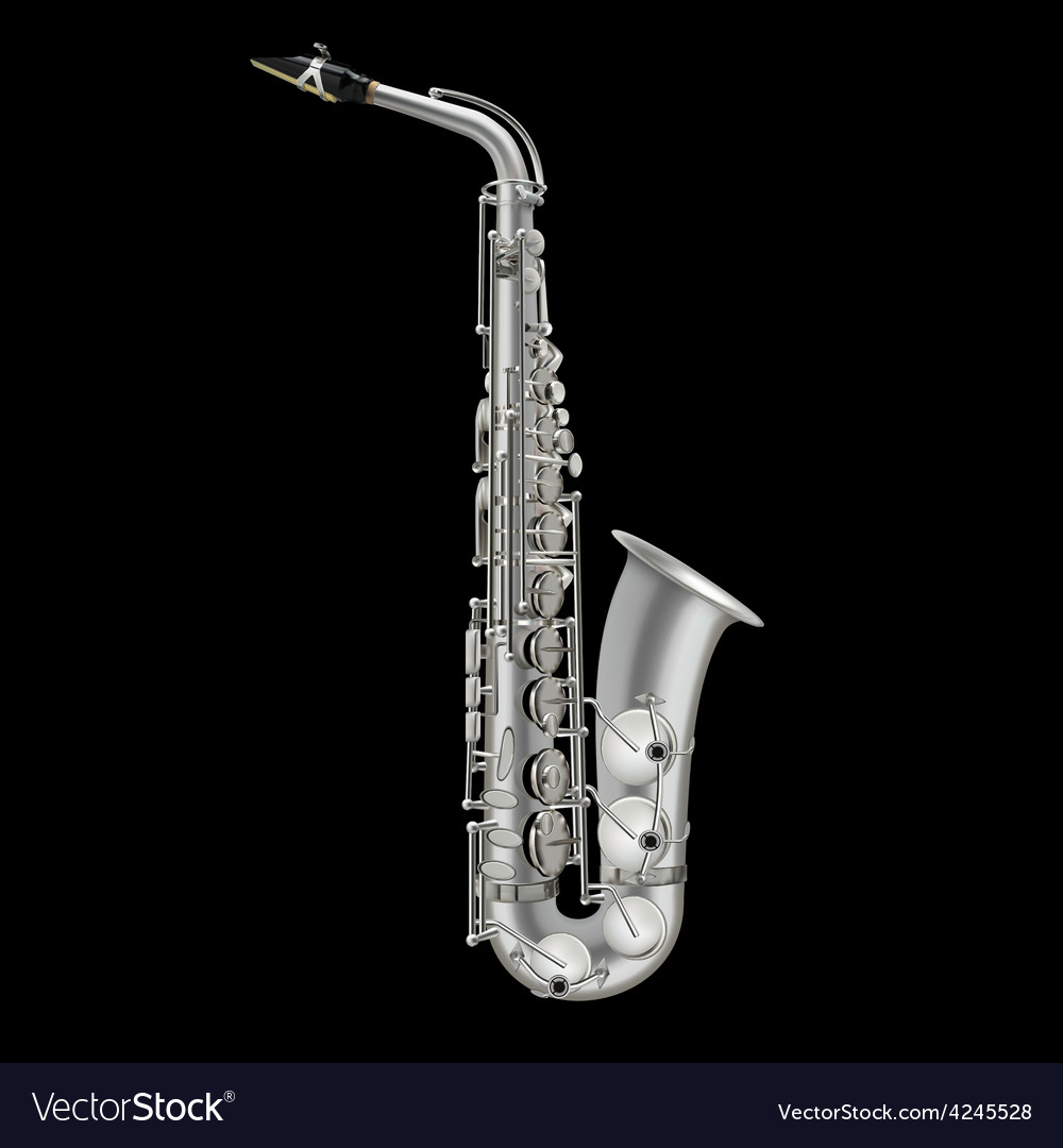 Photorealistic saxophone isolated on a black vector | Price: 3 Credit (USD $3)