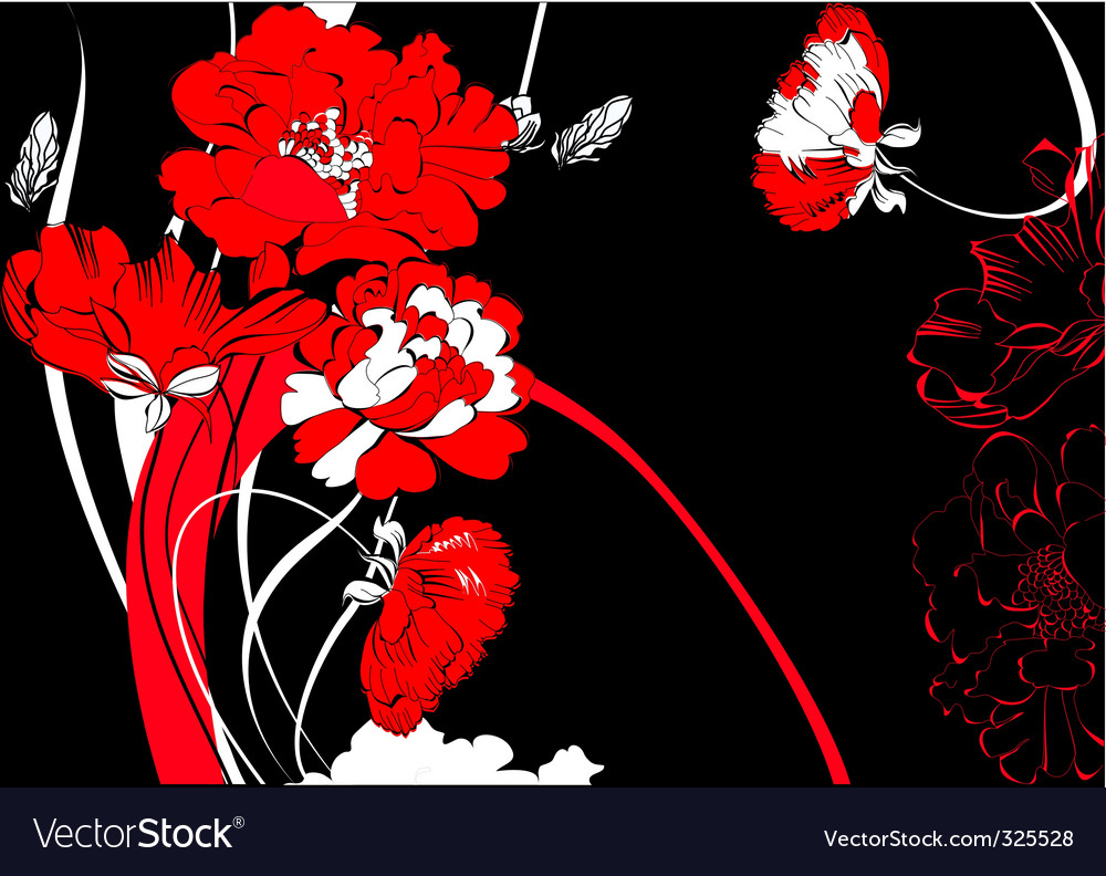 Red flowers on black background vector | Price: 1 Credit (USD $1)