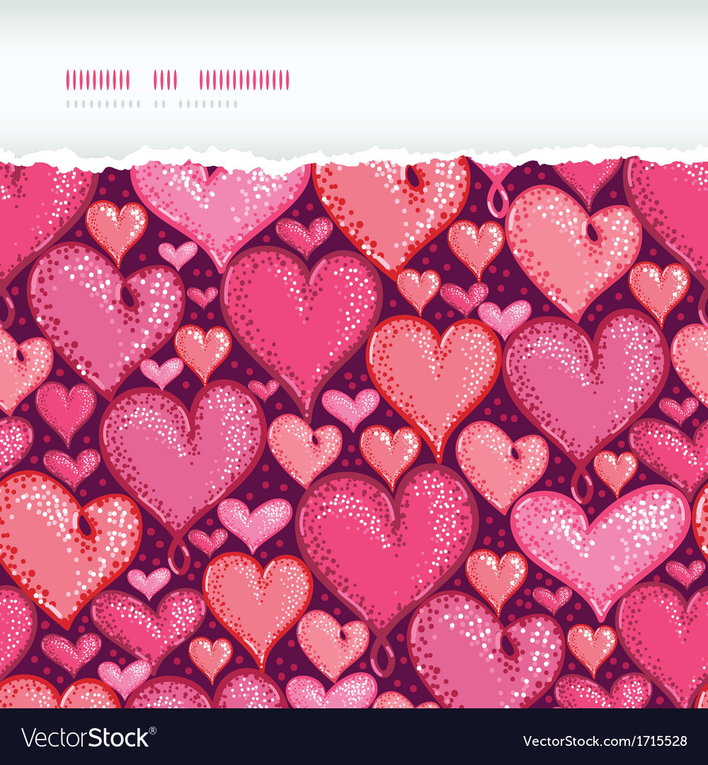 Red valentines day hearts horizontal torn seamless vector | Price: 1 Credit (USD $1)