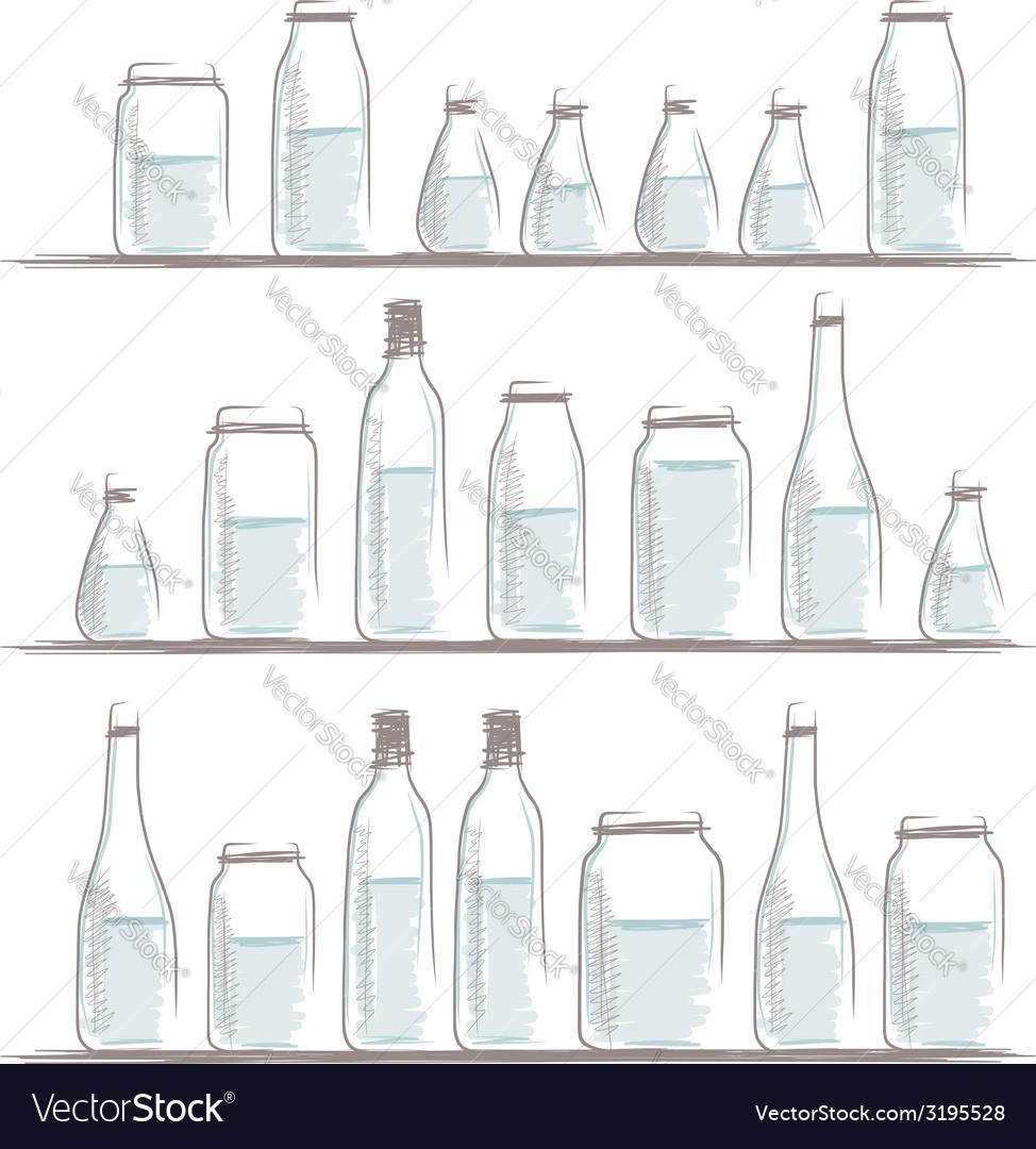 Set of bottles sketch on shelves for your design vector | Price: 1 Credit (USD $1)