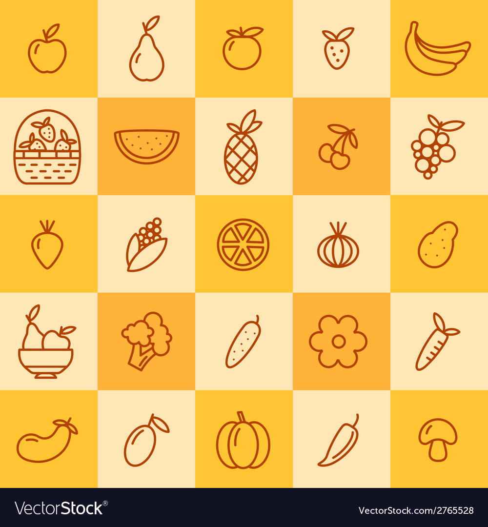 Set of icons of fruits and vegetables vector | Price: 1 Credit (USD $1)