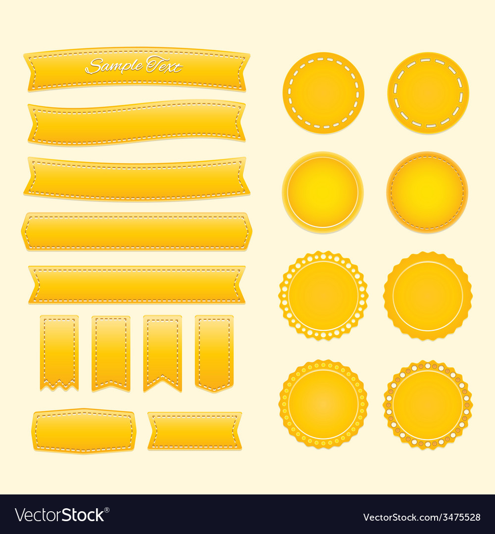 Yellow labels and ribbons vector | Price: 1 Credit (USD $1)