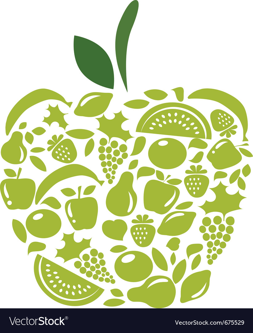 Apple with fruits and vegetables pattern on white vector | Price: 1 Credit (USD $1)