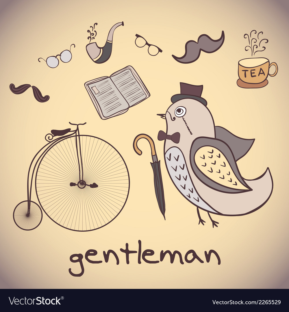Bird gentleman attributes dandy vector | Price: 1 Credit (USD $1)