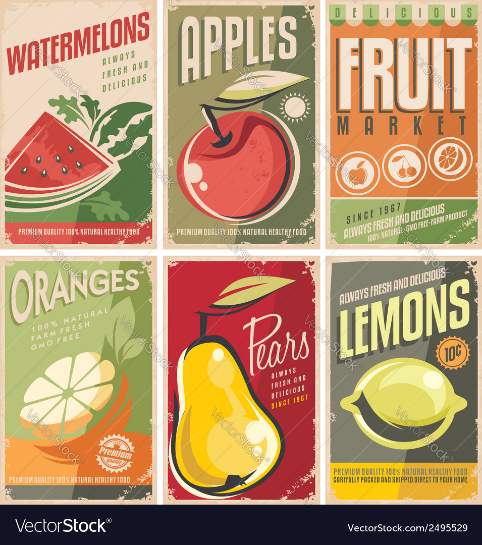 Collection of retro fruit poster designs vector | Price: 3 Credit (USD $3)