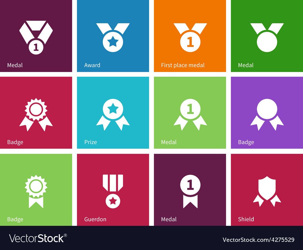 Cup and medal icons on color background vector | Price: 1 Credit (USD $1)