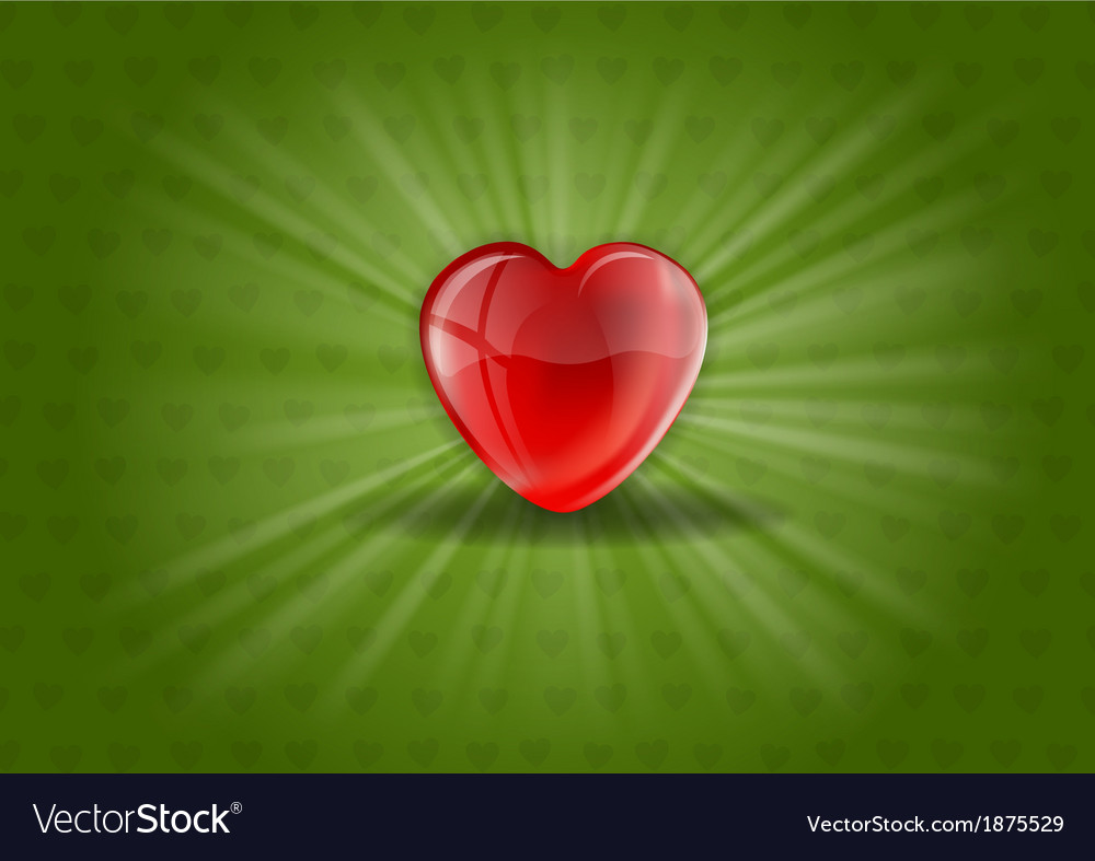 Heart background shine green vector | Price: 1 Credit (USD $1)