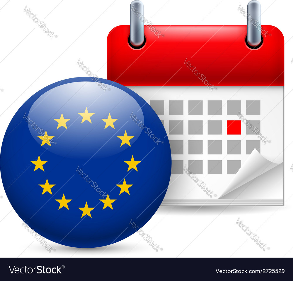 Icon of eu flag and calendar vector | Price: 1 Credit (USD $1)