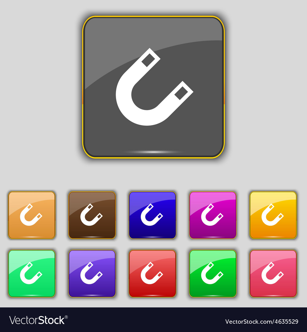 Magnet horseshoe icon sign set with eleven colored vector | Price: 1 Credit (USD $1)