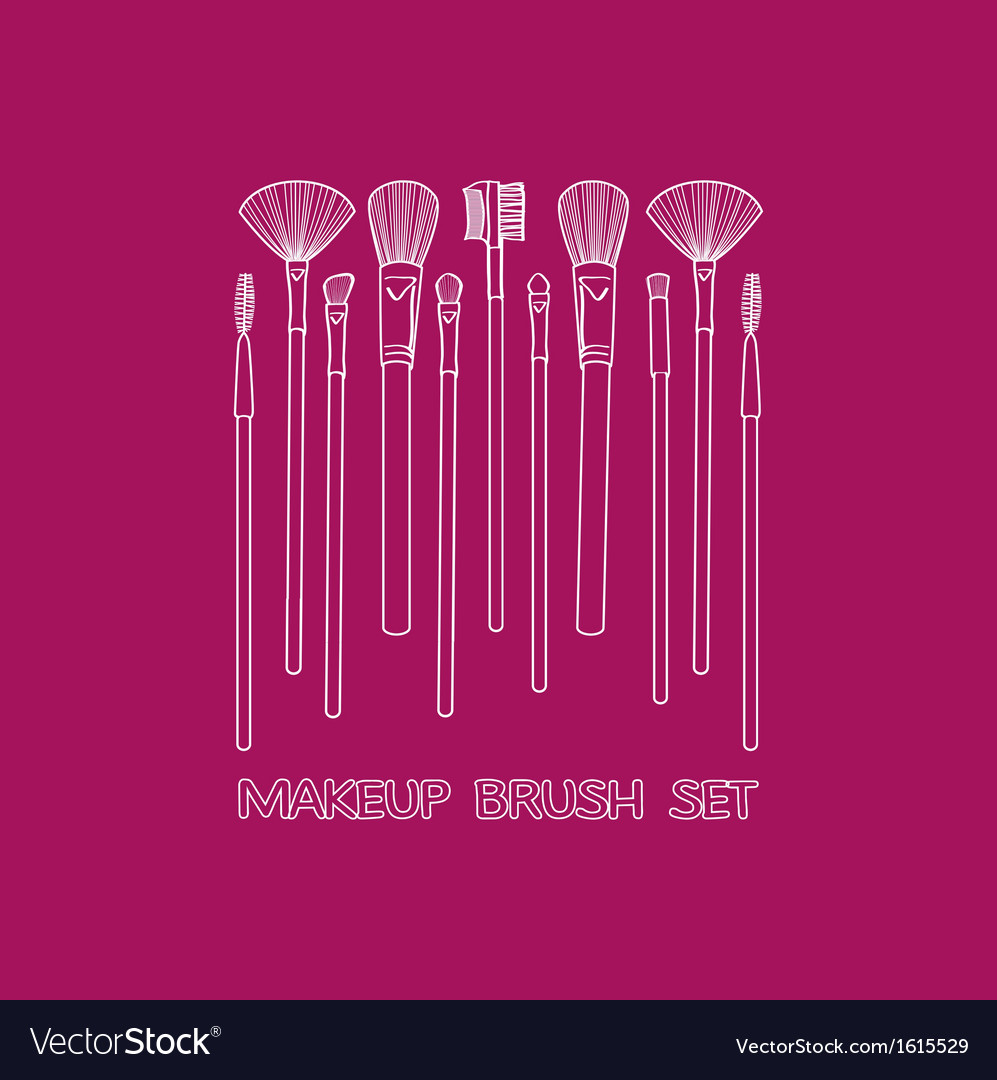 Makeup brush set vector | Price: 1 Credit (USD $1)
