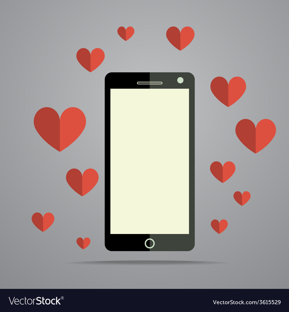 Modern mobile phone with heart vector | Price: 1 Credit (USD $1)