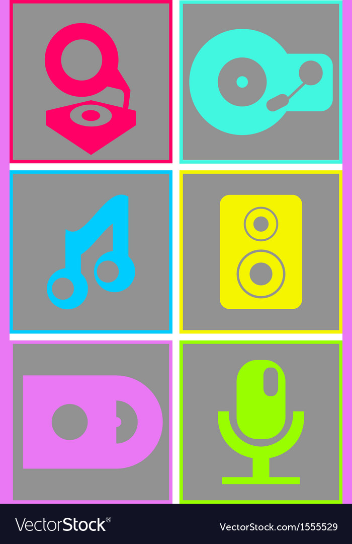 Neon colored flat design music icons vector | Price: 1 Credit (USD $1)