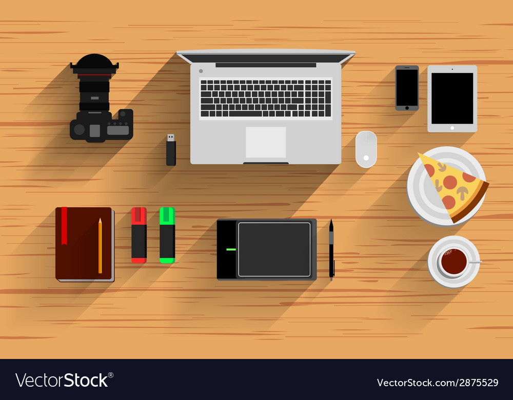 Office workplace elements vector | Price: 1 Credit (USD $1)