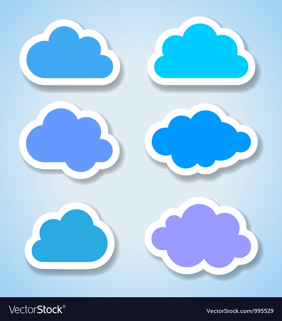 Set of 6 paper colorful clouds vector | Price: 1 Credit (USD $1)
