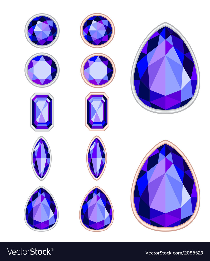 Set of five forms of violet gemstone vector | Price: 1 Credit (USD $1)