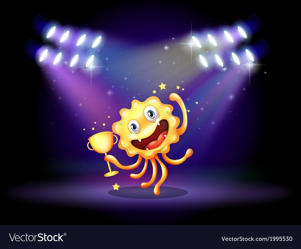 A stage with a monster holding a trophy vector | Price: 3 Credit (USD $3)