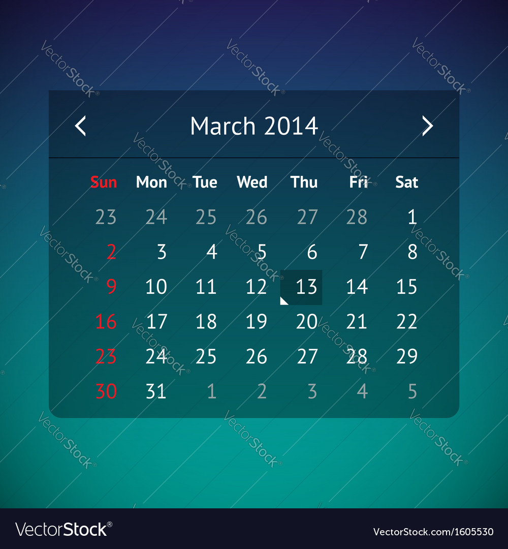 Calendar page for march 2014 vector | Price: 1 Credit (USD $1)