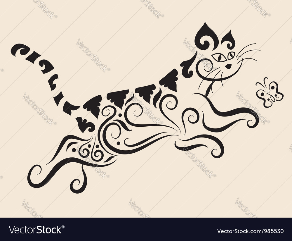 Cat ornament vector | Price: 1 Credit (USD $1)