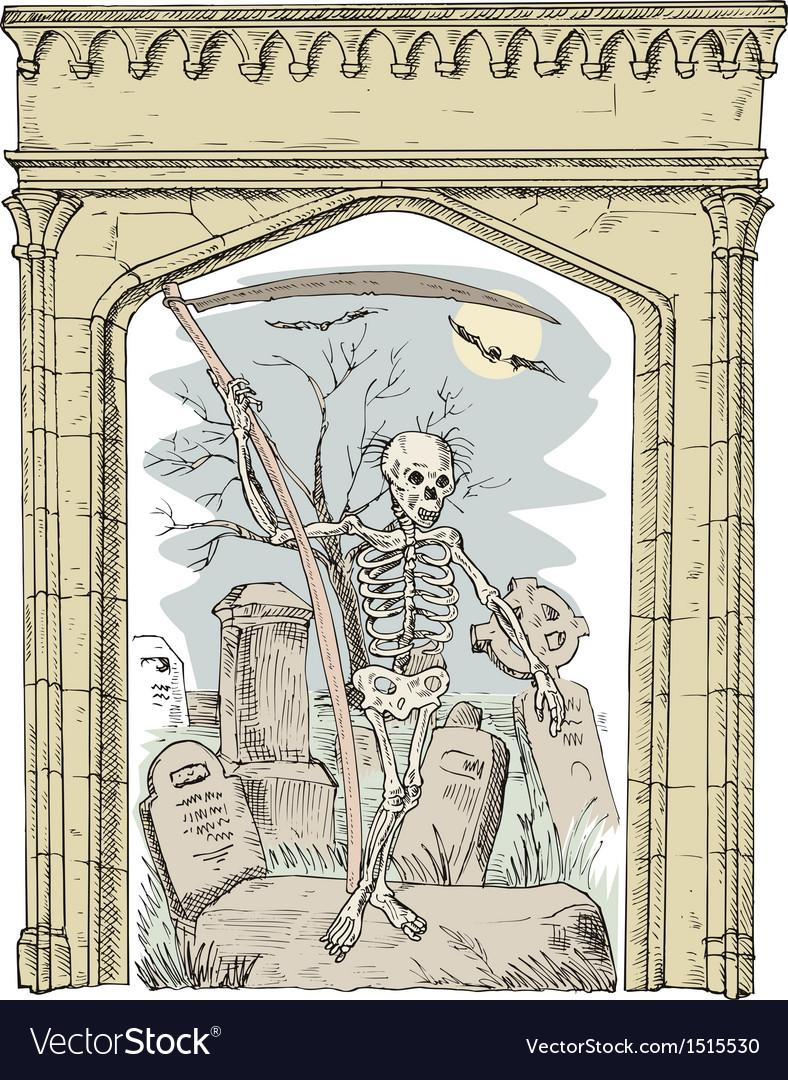 Cemetery arch grim reaper vector | Price: 1 Credit (USD $1)