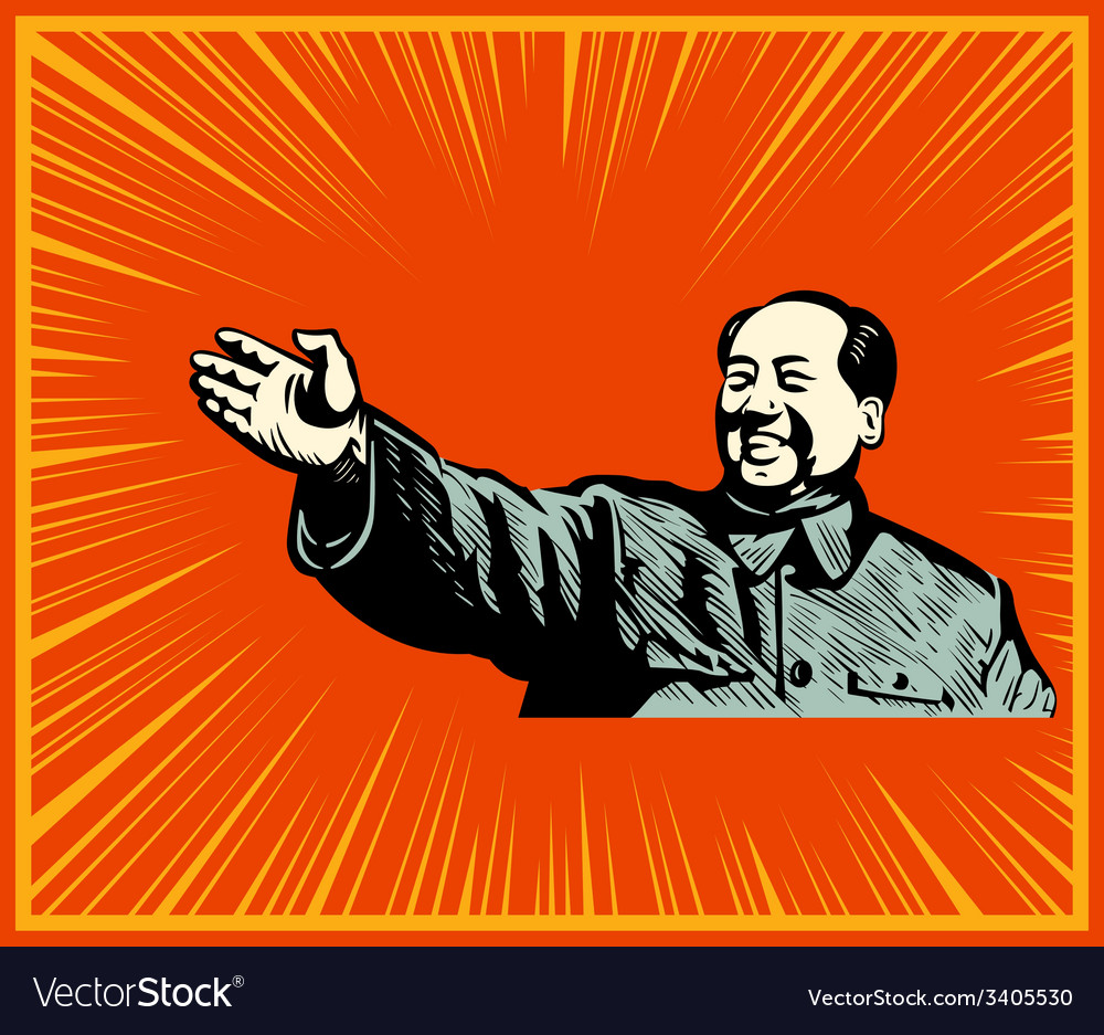 Cheerful mao poster vector | Price: 3 Credit (USD $3)