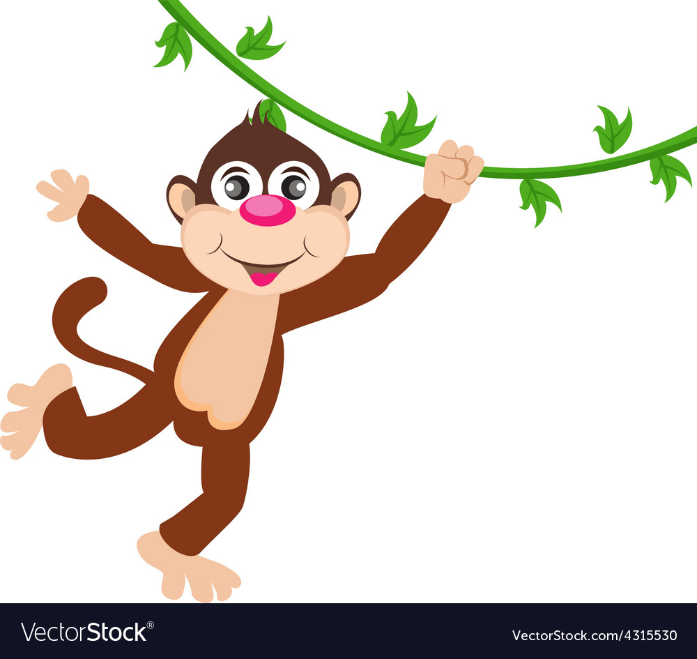 Cheerful monkey cartoon vector | Price: 1 Credit (USD $1)