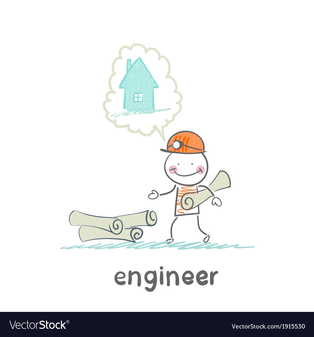 Engineer stands near the drawings and thinking vector | Price: 1 Credit (USD $1)
