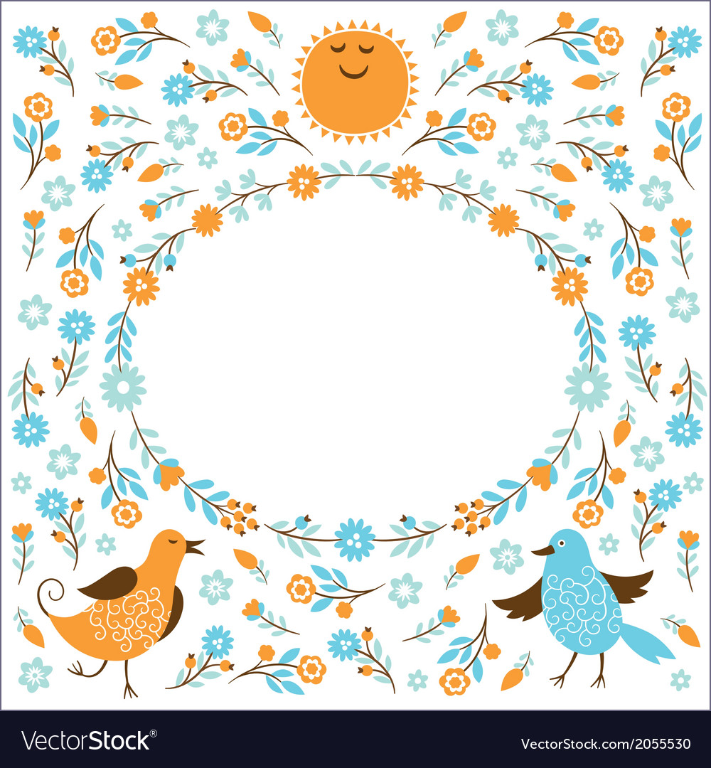 Frame with birds and flowers vector | Price: 1 Credit (USD $1)