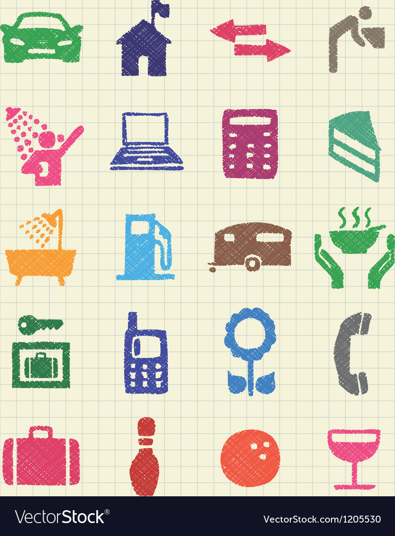 Hotel and service icons set drawn by color pencils vector | Price: 1 Credit (USD $1)
