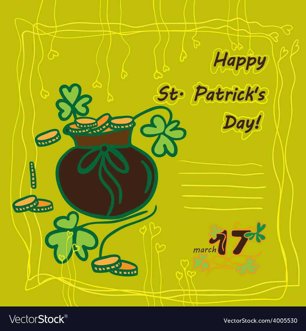 Irish st patrick day party card with flat symbols vector | Price: 1 Credit (USD $1)