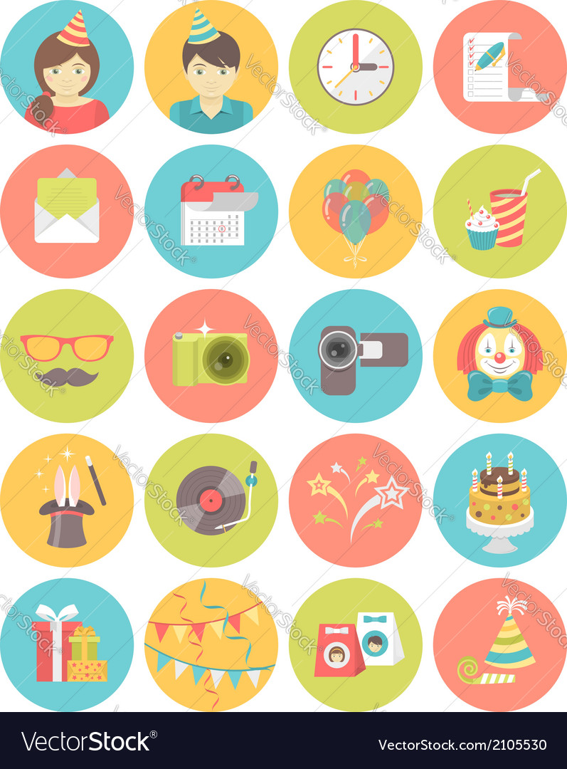 Kids birthday party round icons vector | Price: 1 Credit (USD $1)