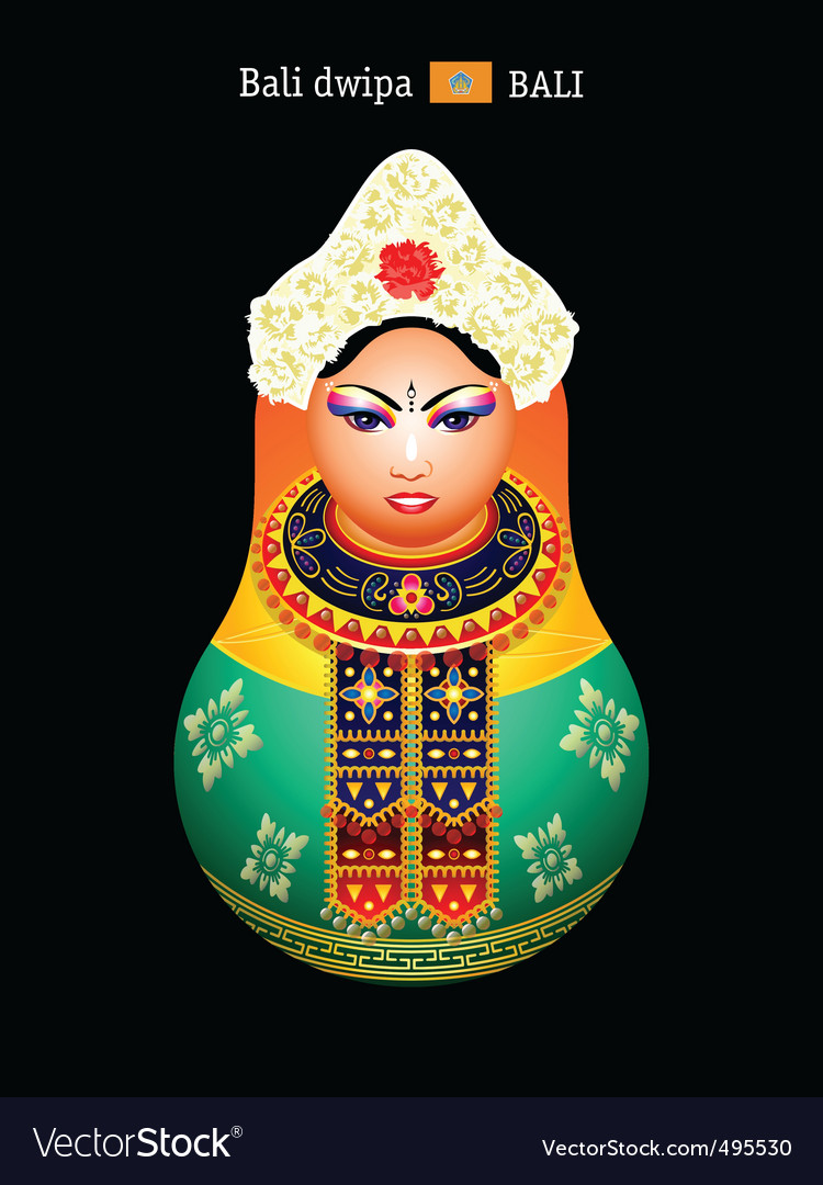 Matryoshka balinese girl vector | Price: 3 Credit (USD $3)