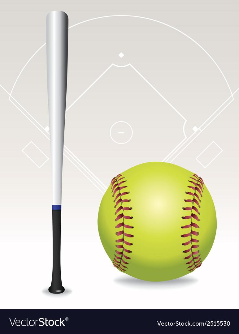 Softball and bat vector | Price: 1 Credit (USD $1)