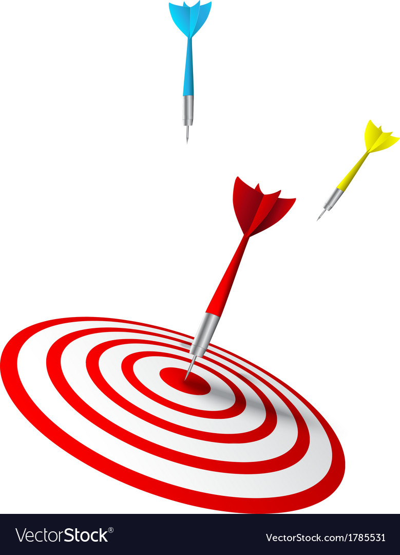 Colorful darts hitting a target vector | Price: 1 Credit (USD $1)