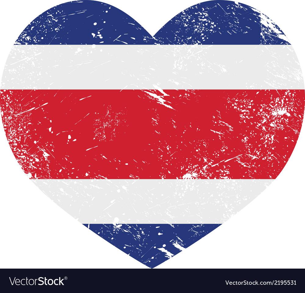 Costa rica retro heart shaped flag vector | Price: 1 Credit (USD $1)