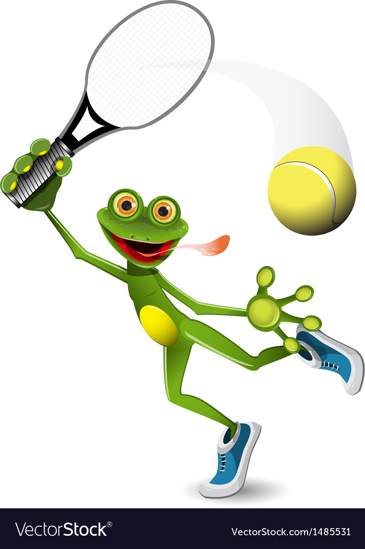 Frog tennis player vector | Price: 3 Credit (USD $3)