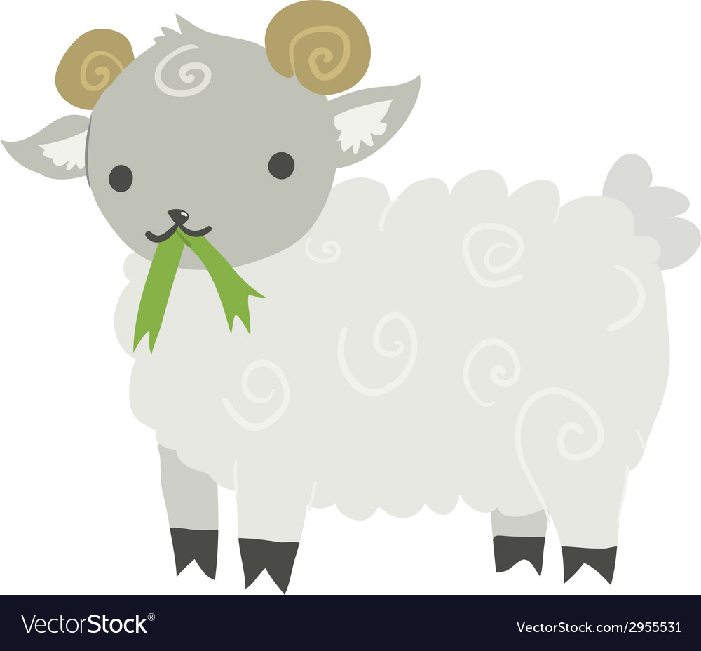 Funny cartoon sheep mascot vector | Price: 1 Credit (USD $1)